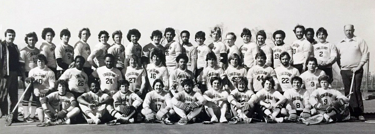 Long Island Lacrosse Club Team Photo, Again lots of Hall of Famers in this photo. Second row Stan Kowalski 27 Ron Frazier 16