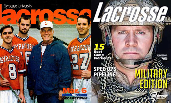 Left to right: Jim Morrisey, Rorke Denver, Roy Simmons Jr, and Kristian Phototopolis , courtesy of Syracuse University. Rorke Denver far right in Navy Seal gear Courtesy of US Lacrosse Magazine