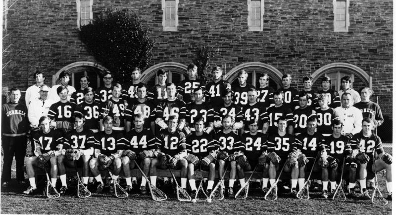 1970 Cornell Men's Varsity Lacrosse Team, Bob Rule wearing #15. Courtesy of Cornell University