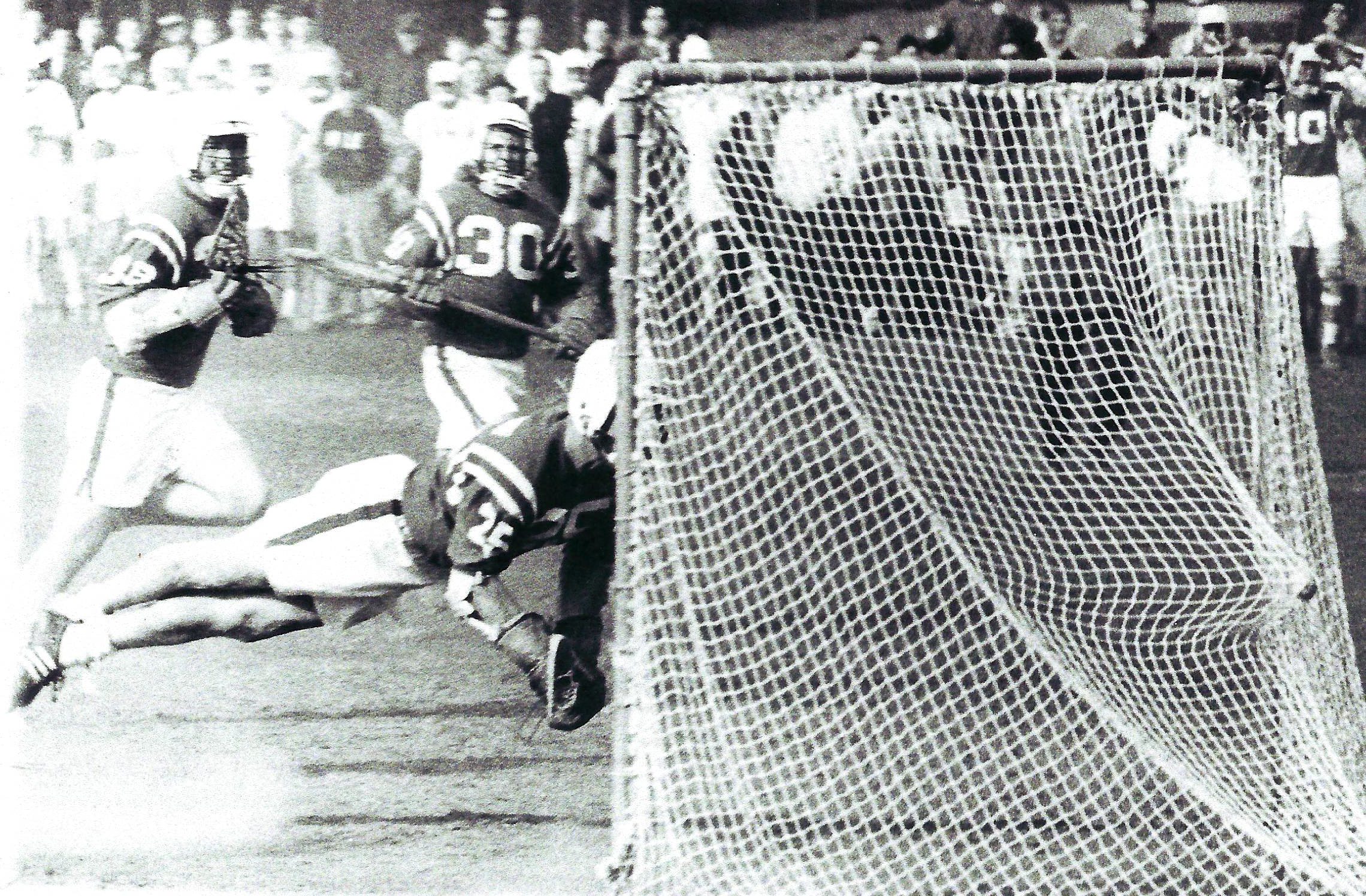 """""""The Original Dive,"""" Bruce Cohen diving toward the goal and scoring against Yale, April 16, 1966, Courtesy of Bruce Cohen"""