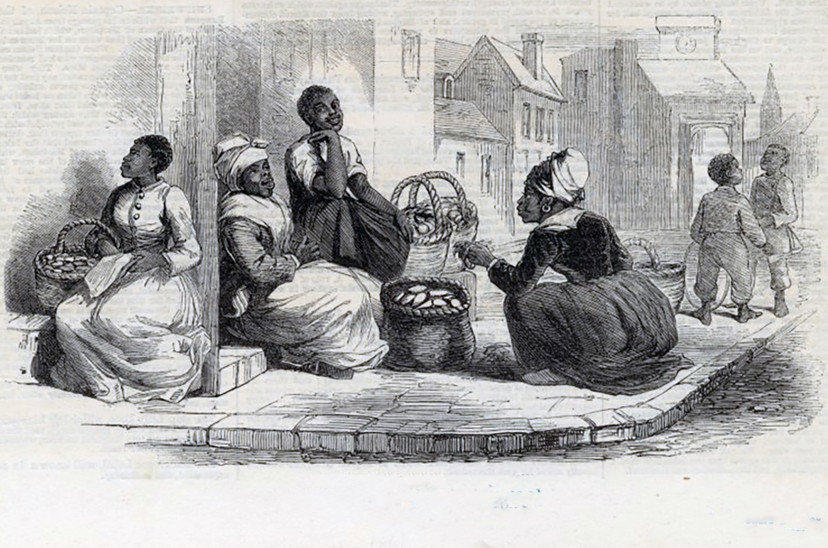 Selling sweet potatoes in Charleston, 1861, (Courtesy of the New York Public Library)