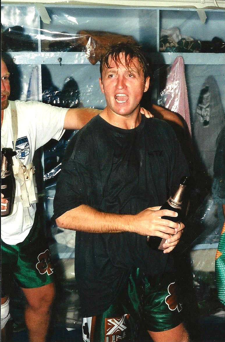 A young Tom Marecheck celebrating after another Shamrock Box Lacrosse Championship, image owner unknown.