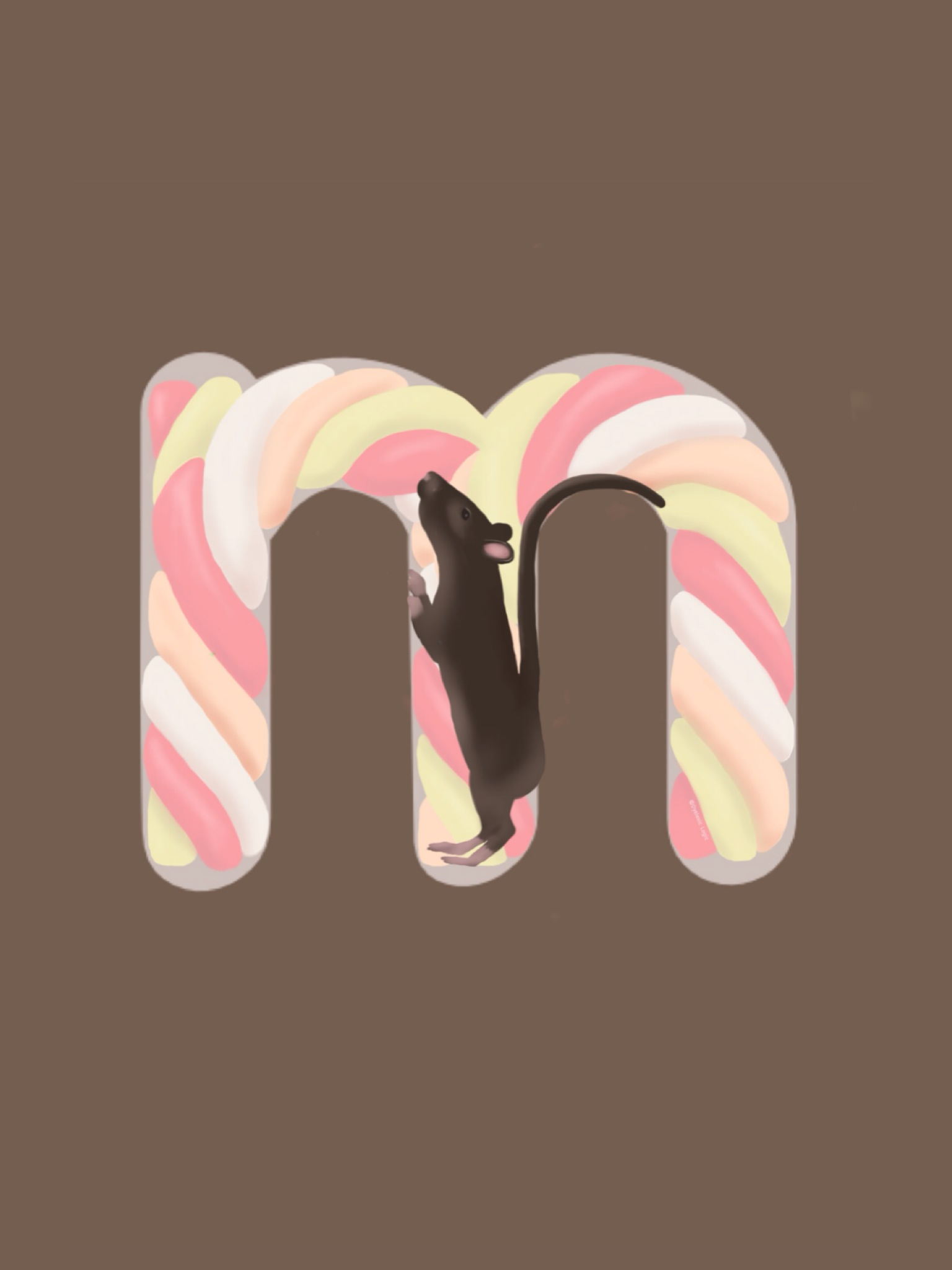 Letter M - Mouse Munching Marshmallow