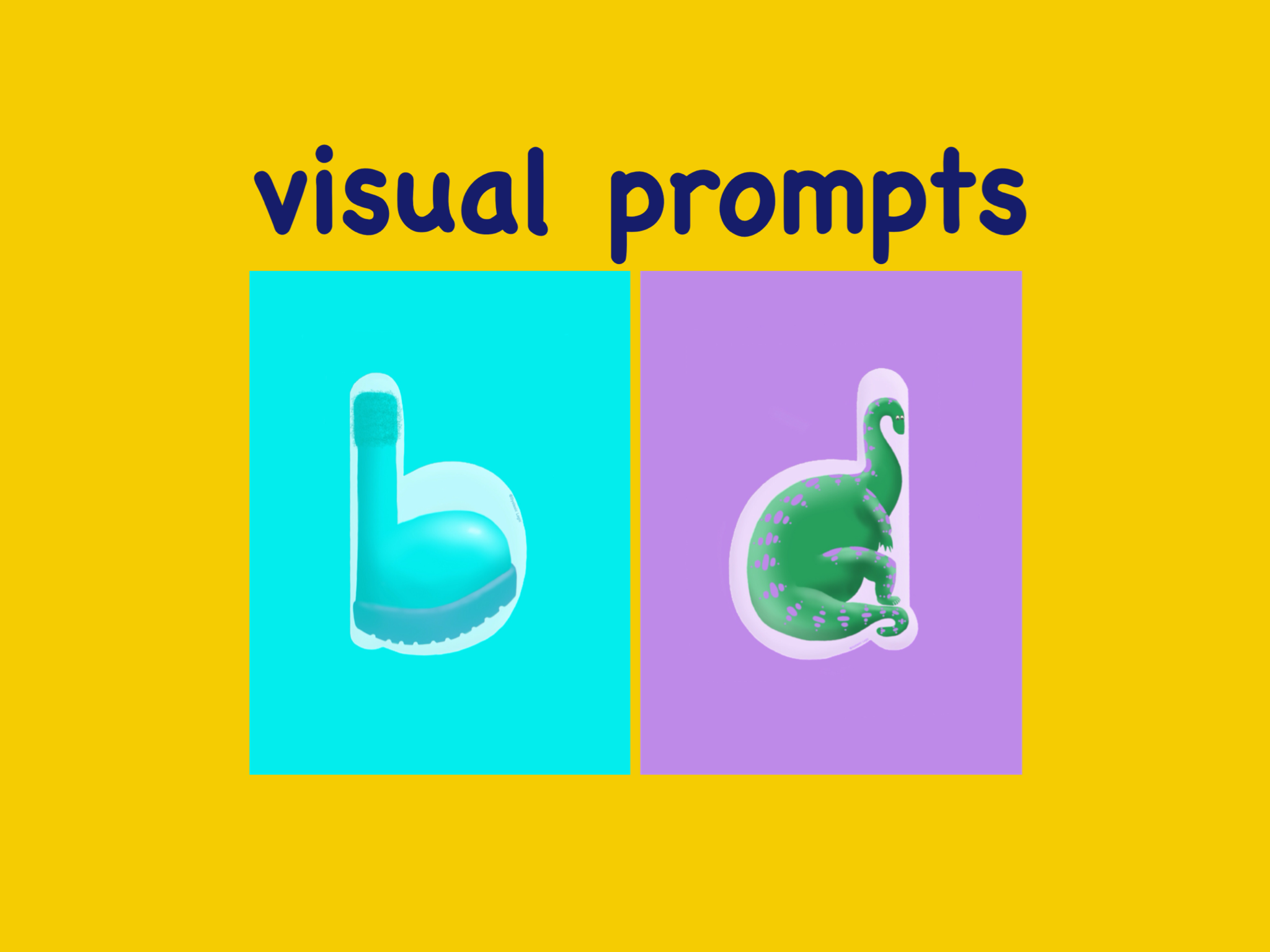 visual prompts to support memeory where the letter shapes are similar.