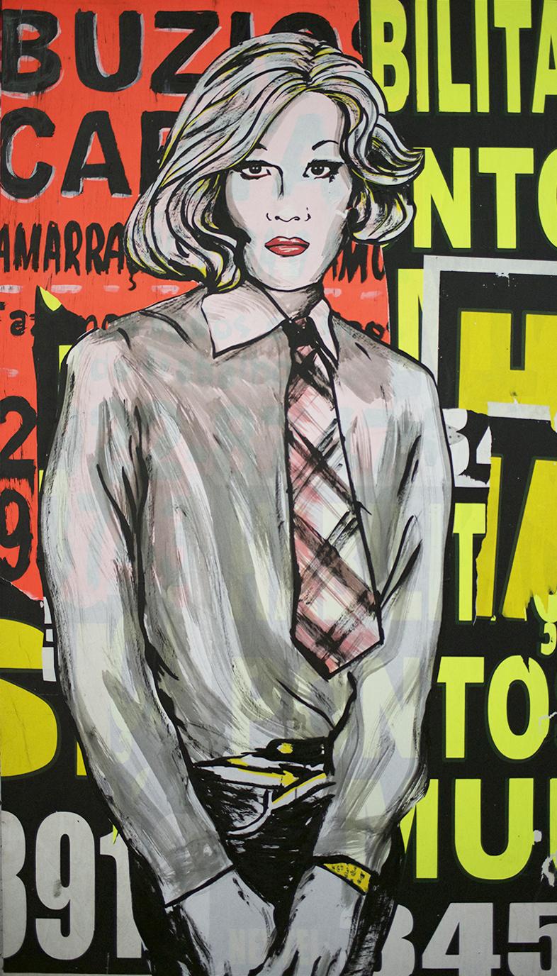 Andy Warhol     acrylique et collage sur toile 150 x 85 cm 2015