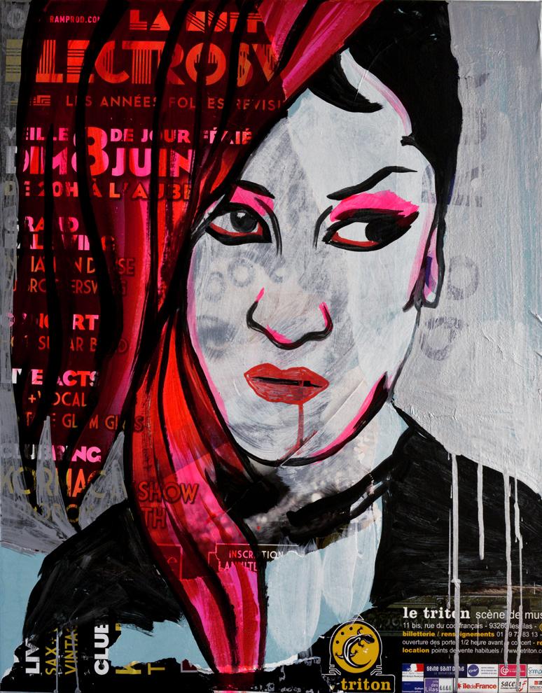 Alisson Gothz IV     acrylique et collage sur toile 65 x 54cm 2014