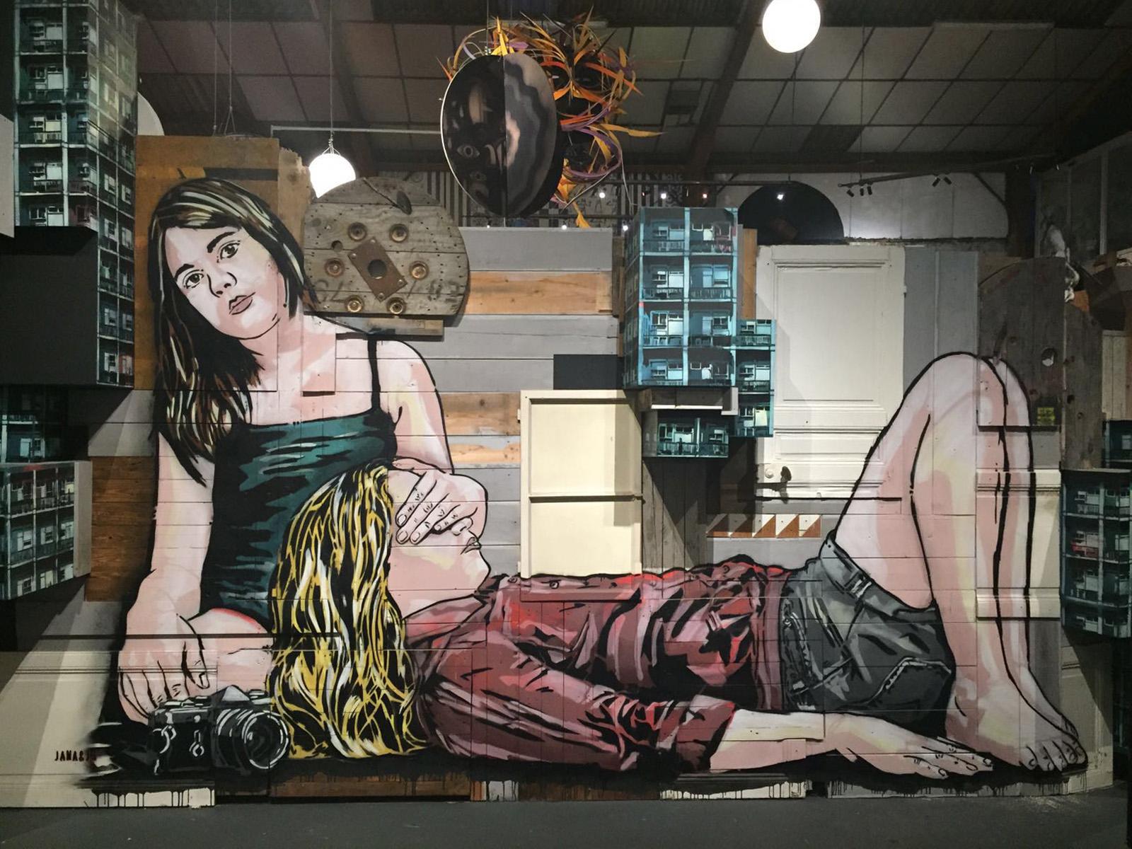 Jana & Js ' wood and stencil installation.
