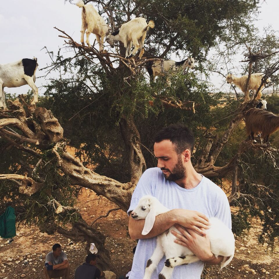 Andy in Essouira, Morocco. Minding the baby goats.