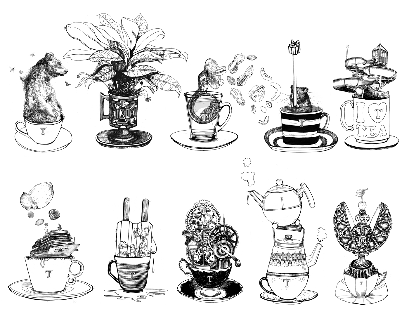 fig. 5. A selection of illustrated tea flavours and tea gifts