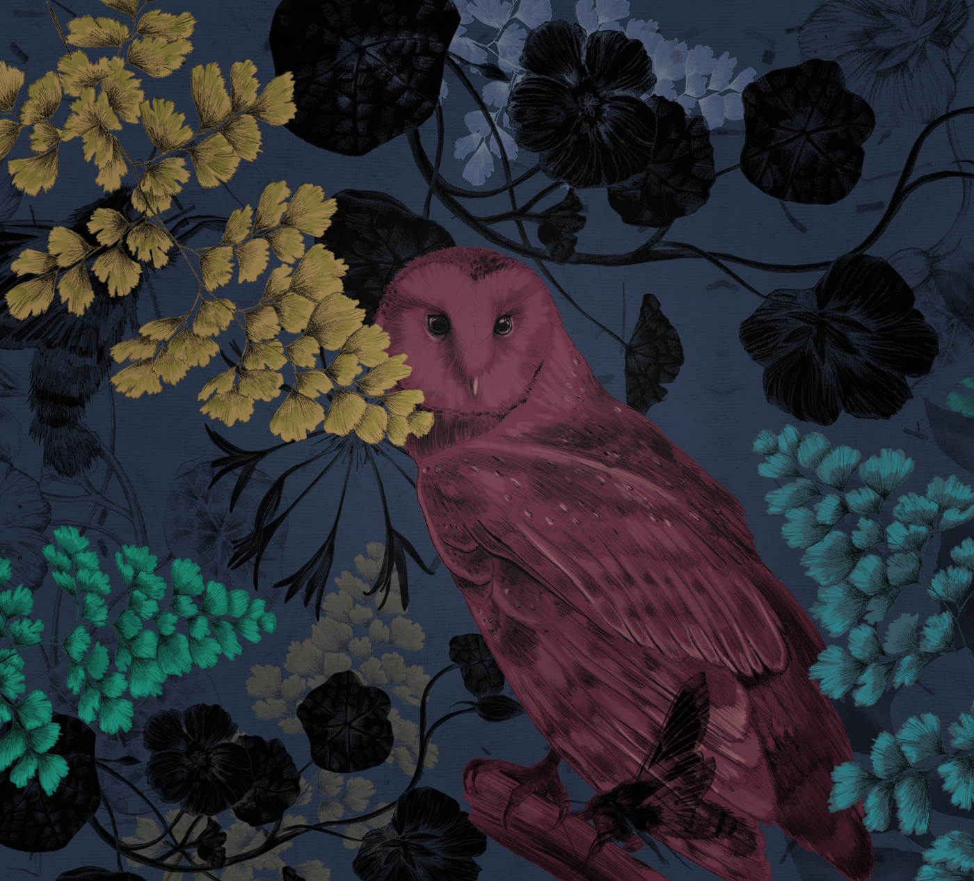 fig 2. Detail of the illustrated barn owl in foliage