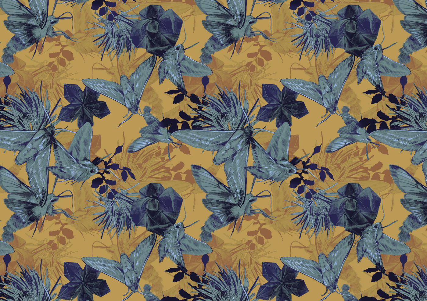 fig 1. Repeat pattern with moths and origami paper flowers