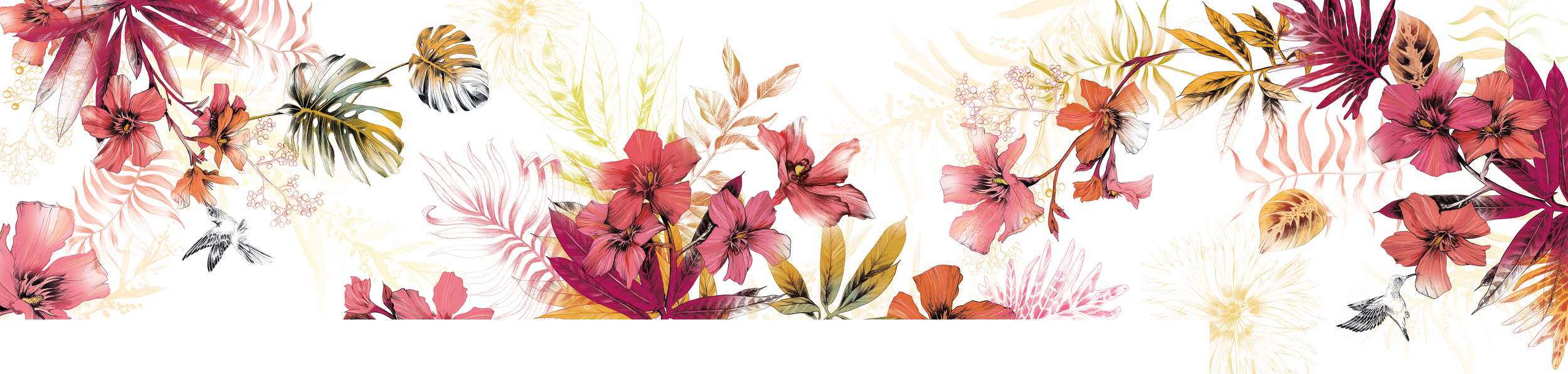Fig. 1. Reception Mural: 10 meters long filled with Oleander, tropical leaves, berries and hummingbirds