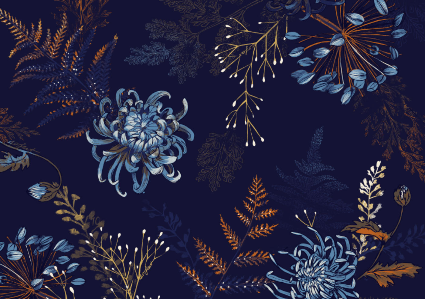 Fig. 1. Pattern in Night Blue: Chrysanthemum, fern, agapanthus