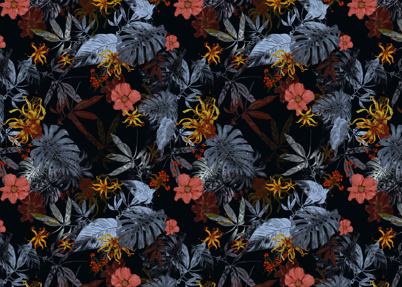 fig. 1. Tropical Midnight repeat pattern; hibiscus, ylang ylang and palm leaves