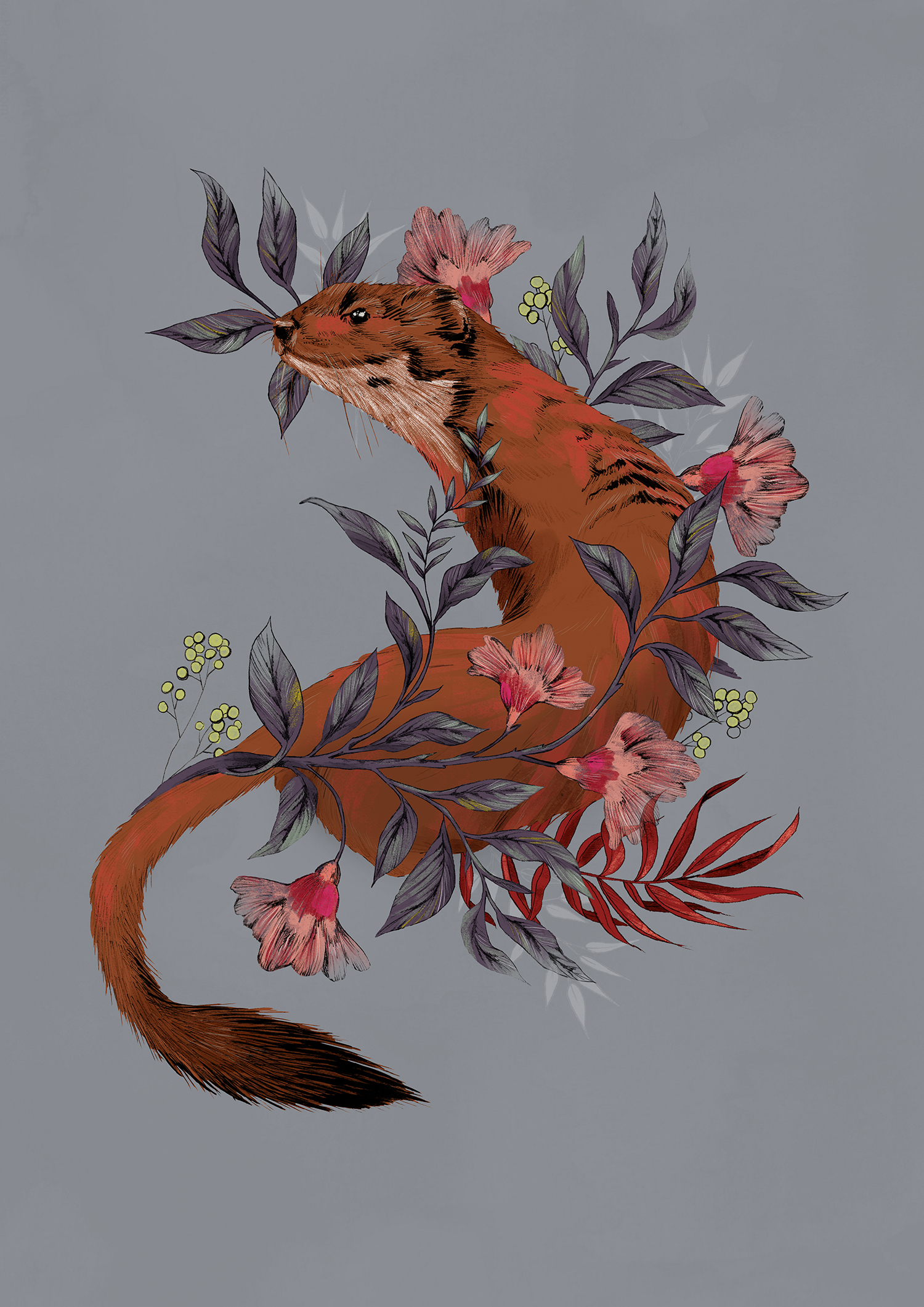 fig. 1. Stoat in foliage, folk art inspired