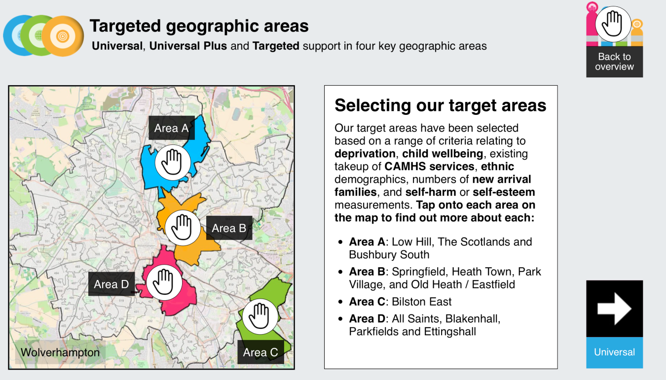 The four geographic areas identified for 'Universal' support (click to see larger).  Screenshot from the HeadStart bid mini site at www.headstartbid.com