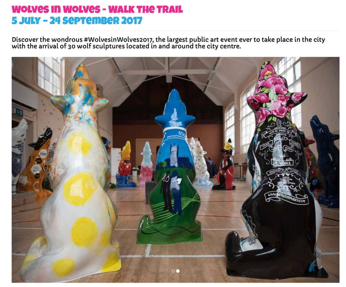 Visitors to Wolverhampton city centre can now walk the trail of the 30 sculptures. See  www.wolvesinwolves.co.uk  for more details!
