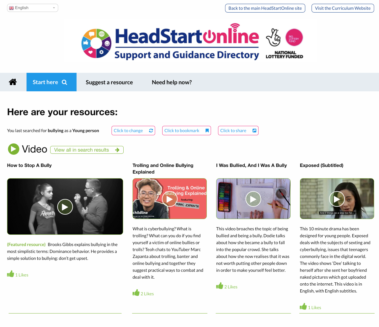 Bullying resources on the HeadStart Support and Guidance Platform