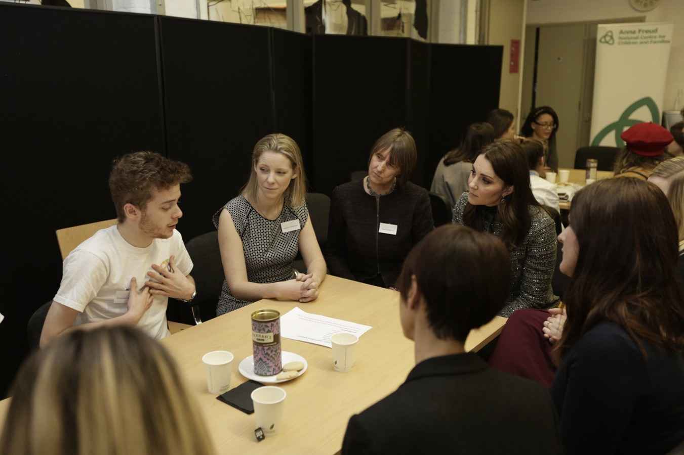 Her Royal Highness The Duchess of Cambridge listening to the thoughts of HeadStart Marketing and Comms Apprentice Emerson Morris. Photo from Anna Freud National Centre for Children and Families .