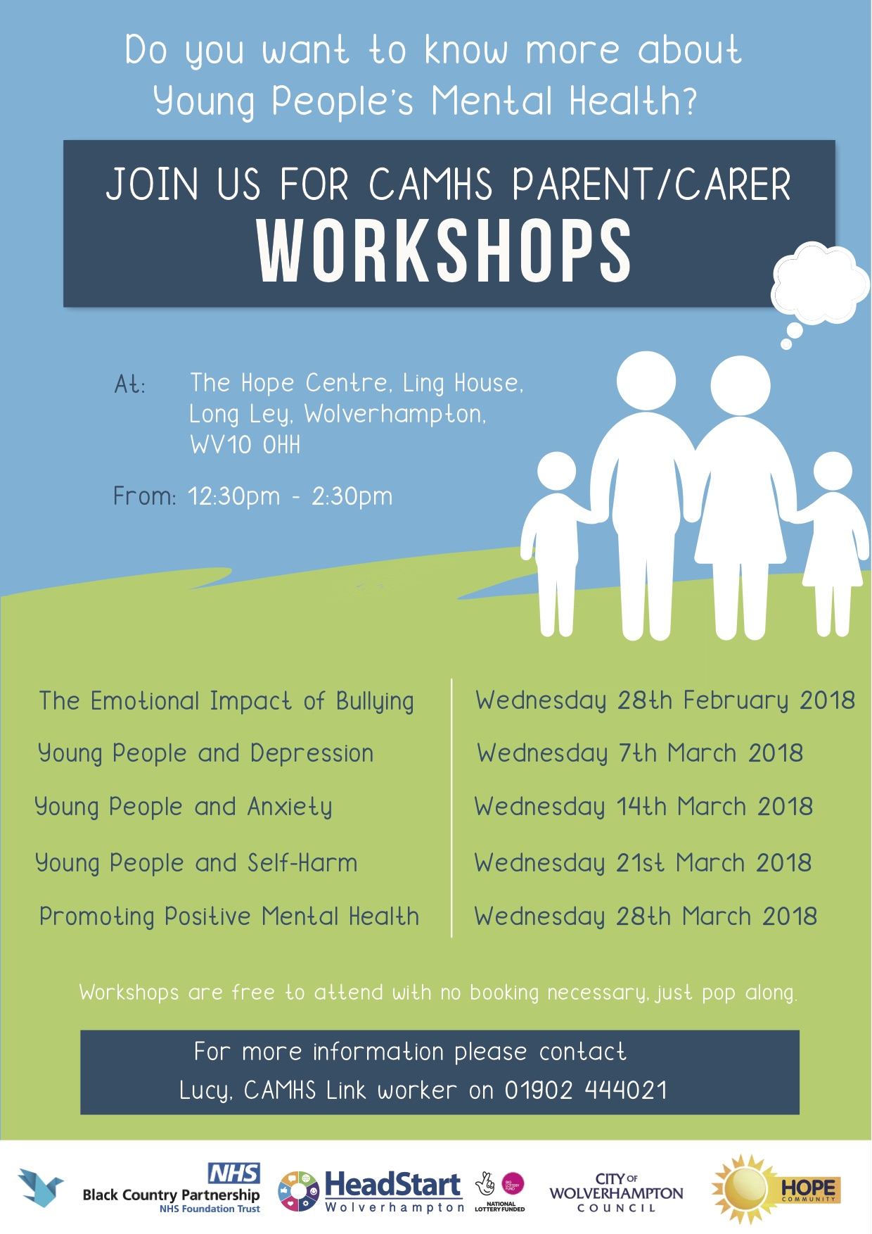 Download a poster - Wednesday sessions at The Hope Centre (PDF)