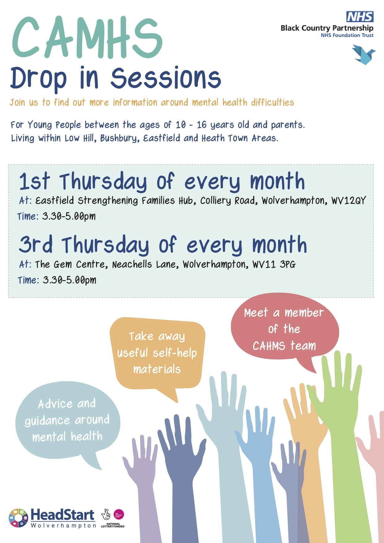 Download a CAMHS drop-in poster (PDF)