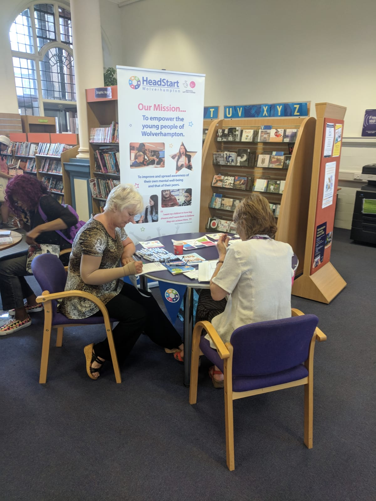 Planning together for positive Mental Health. Elaine Higgins,HeadStart Community Development Co-ordinator,and Katherine Brown,WEA Adult Learning Within Reach, at Wolverhampton Central Library today - 'Reading Well For Mental Health'