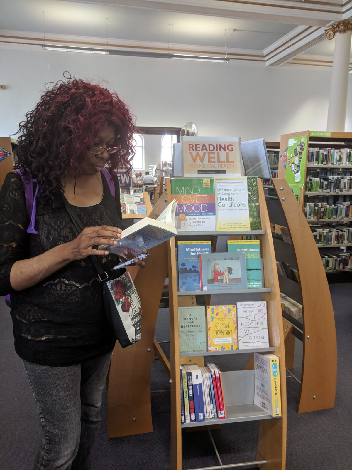 Reading Well For Mental Health. Ann-Marie Deans making the most of Emotional Health books now available for young people and adults in Wolverhampton Libraries.