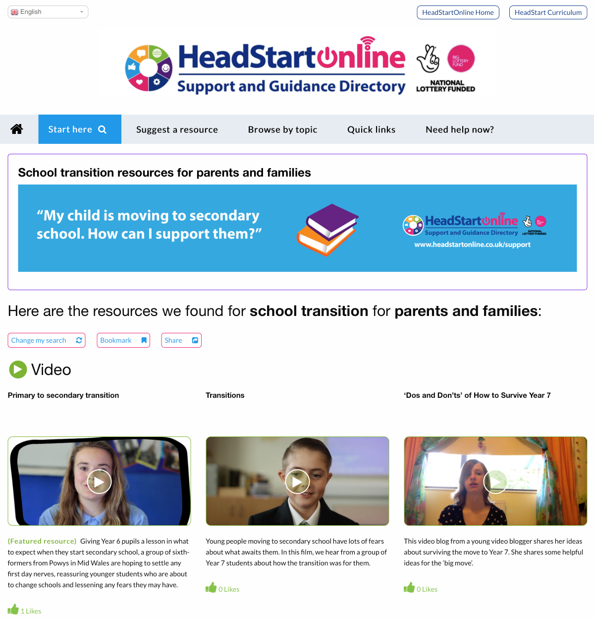 School transition resources for parents and families