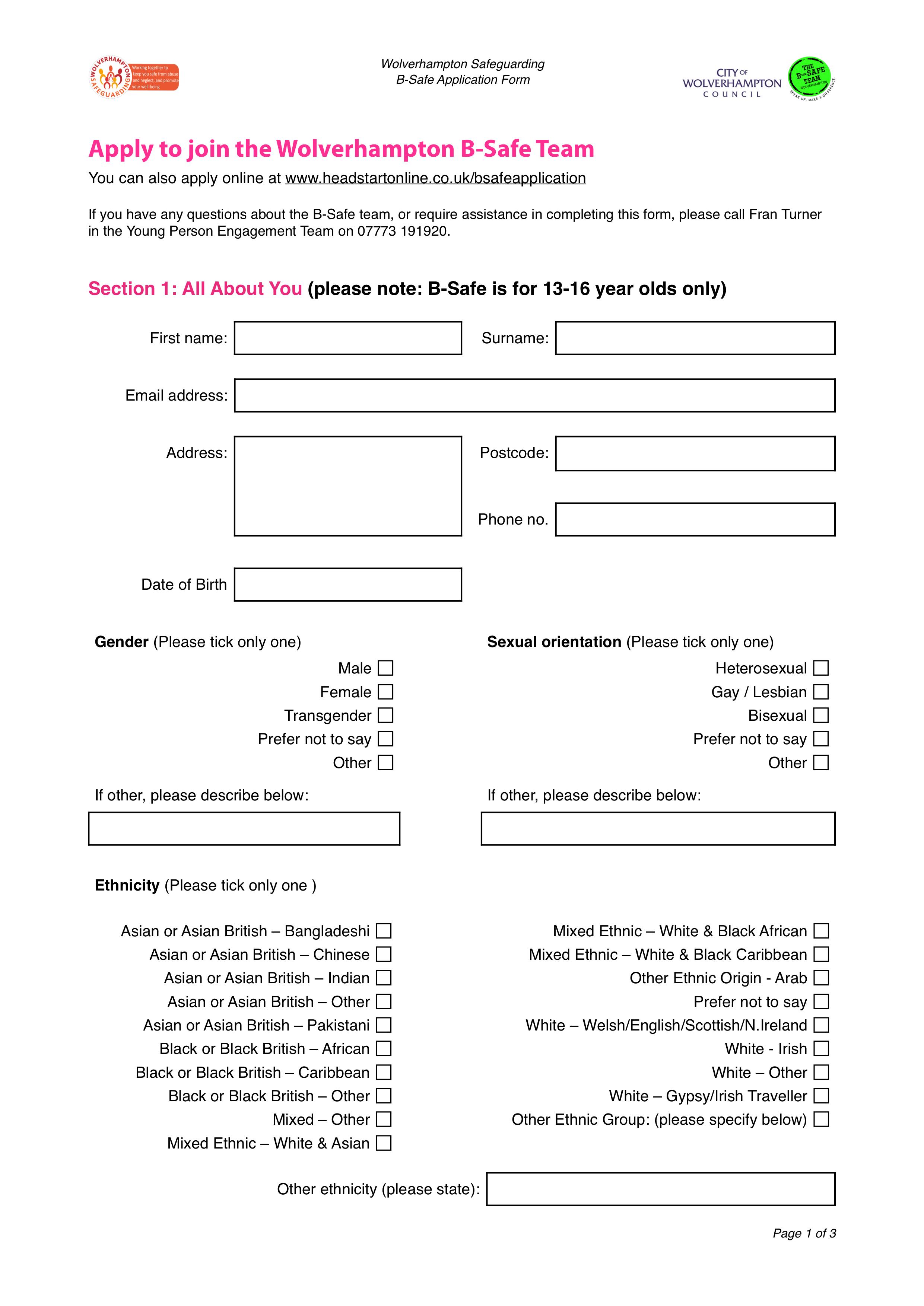 Download the B-Safe Application Form  (PDF version)