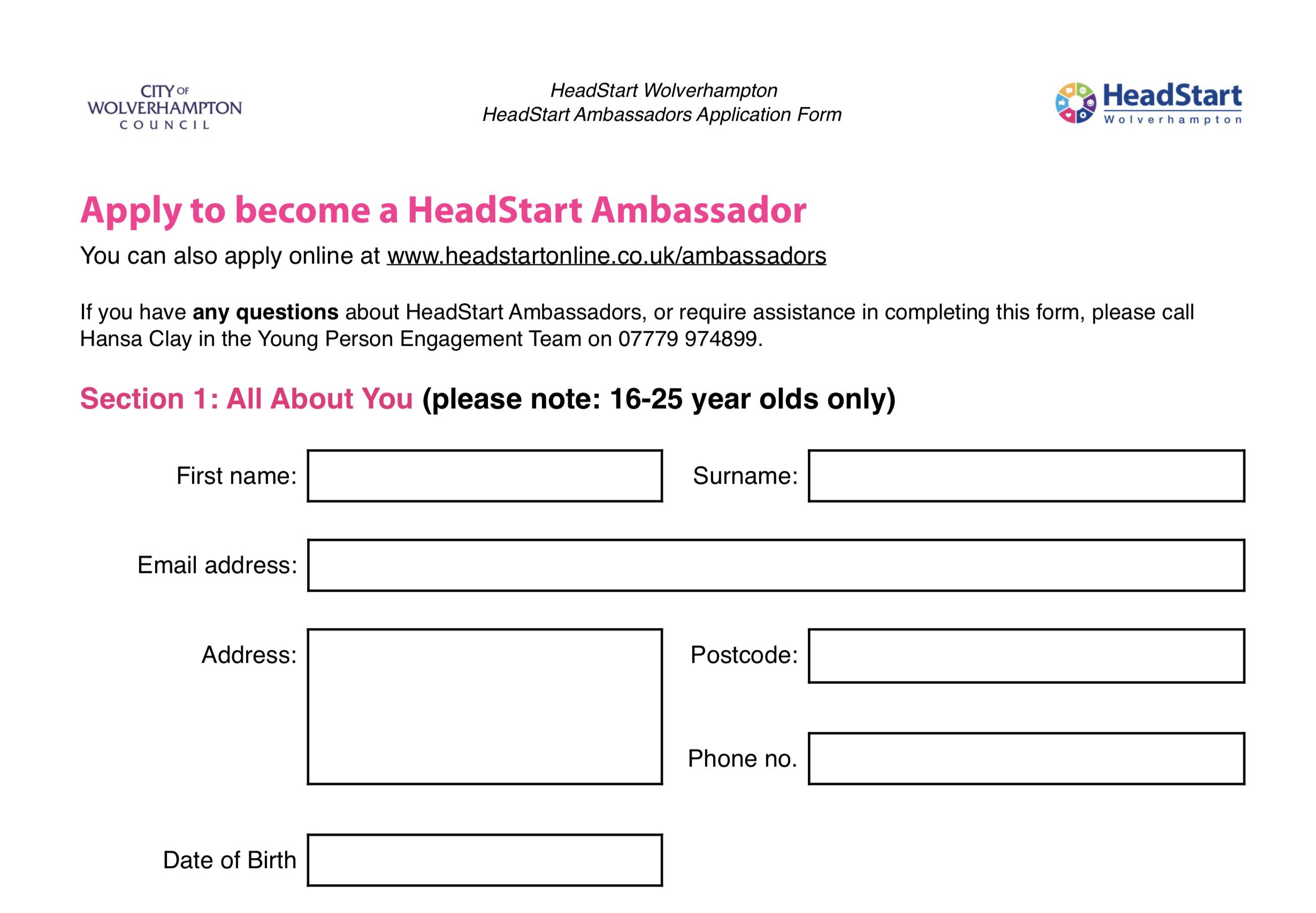 Download HeadStart Ambassador Application Form  (PDF)