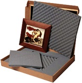 Clamshell box with foam inserts.