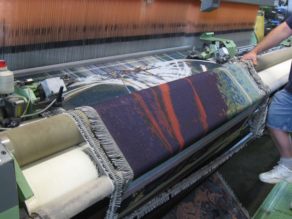 Betty's Jacquards being woven.