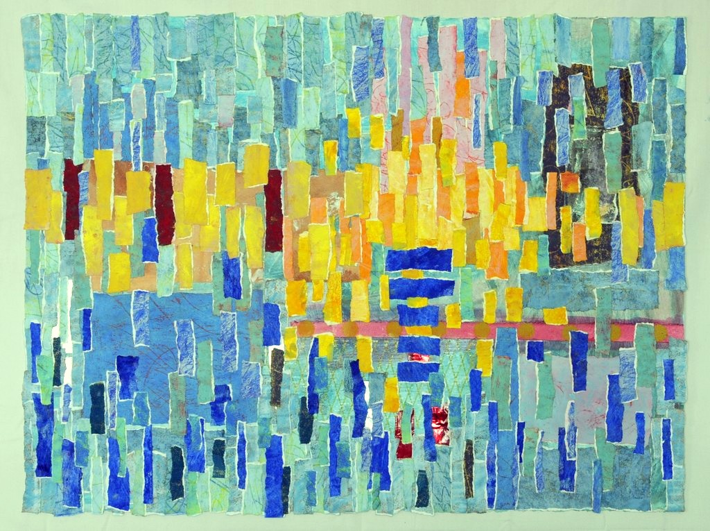 """Sun on Docks by Sheryl Southwick, winner of Juror's Choice Award for """"Putting It Together: The Art of Assembling."""""""