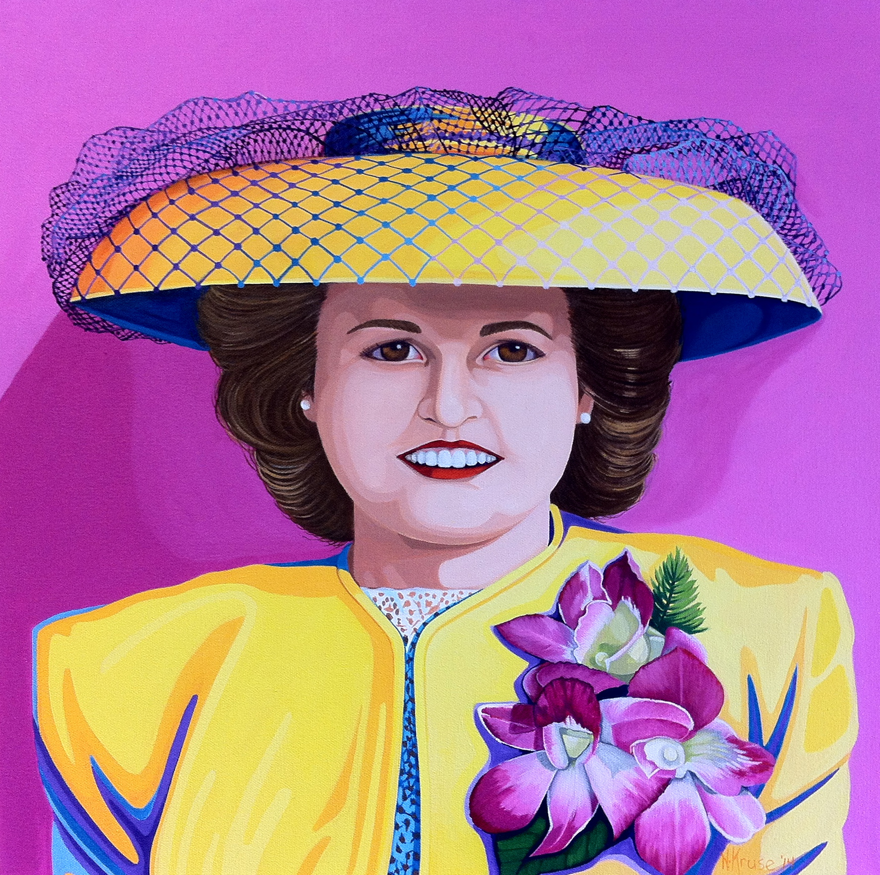 """A unt Millie, or The Yellow Hat , 24"""" x 24"""", oil, 2013."""