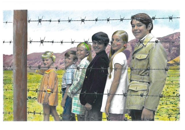 """The Manzanar Bunch 13 inches x 17 inches Oil Pastel and mixed media hand-painted over photo collage  Currently on exhibit at the South Bay Contemporary in San Pedro, CA— depicting the 'slippery slope"""" of racial profiling"""