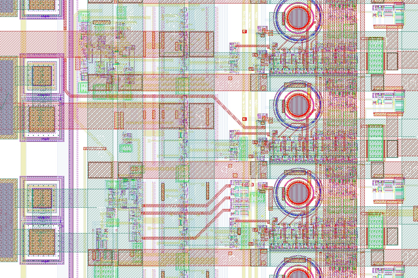 Section of the layout of my 32x1 linear array of CMOS SPADs