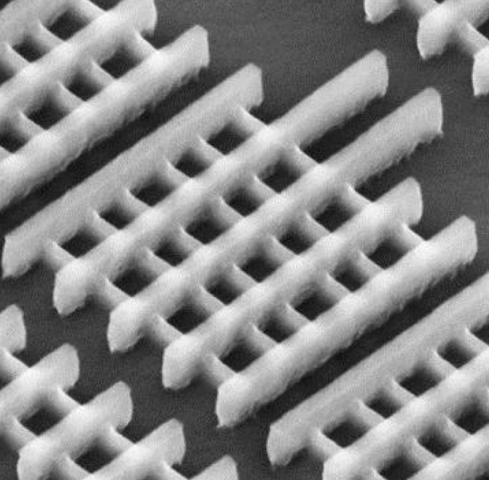 Tilted SEM of several Intel 22nm tri-gate transistors