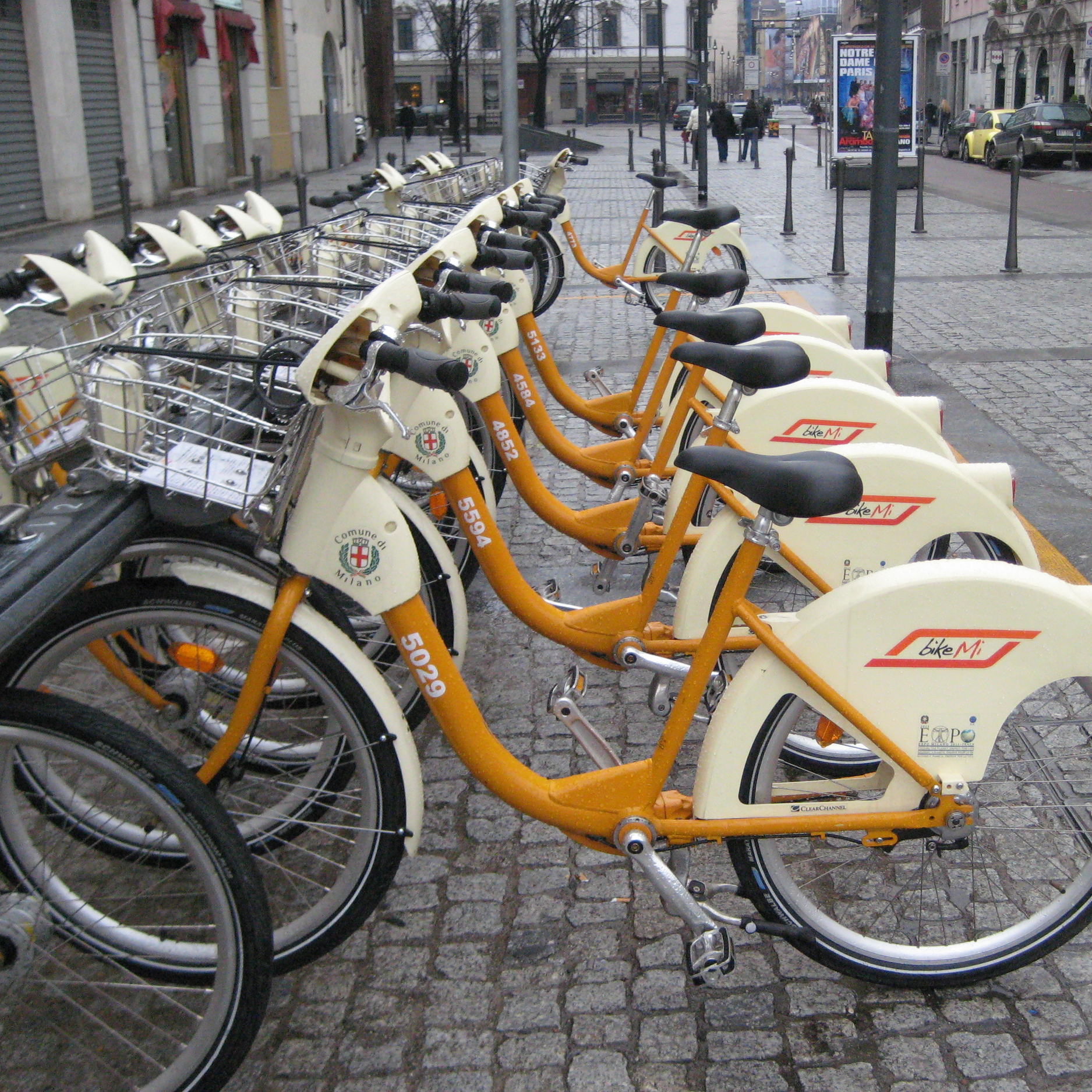 Bike sharing in Milan, Italy (photo by  jcrakow )