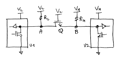Fig.1 - Only one FET and two resistors are needed to achieve bidirectional level shifting.