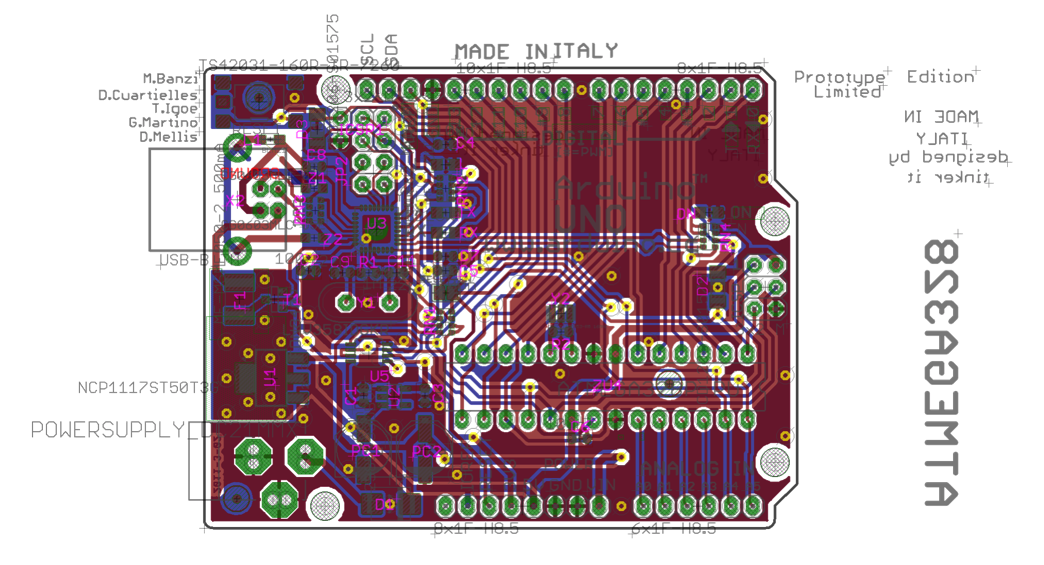 This image shows all information available in the layout file of the Arduino UNO board. Even for such a simple board (it only has two layers of copper) engineers still need to consult the schematic and layout to do a proper validation.