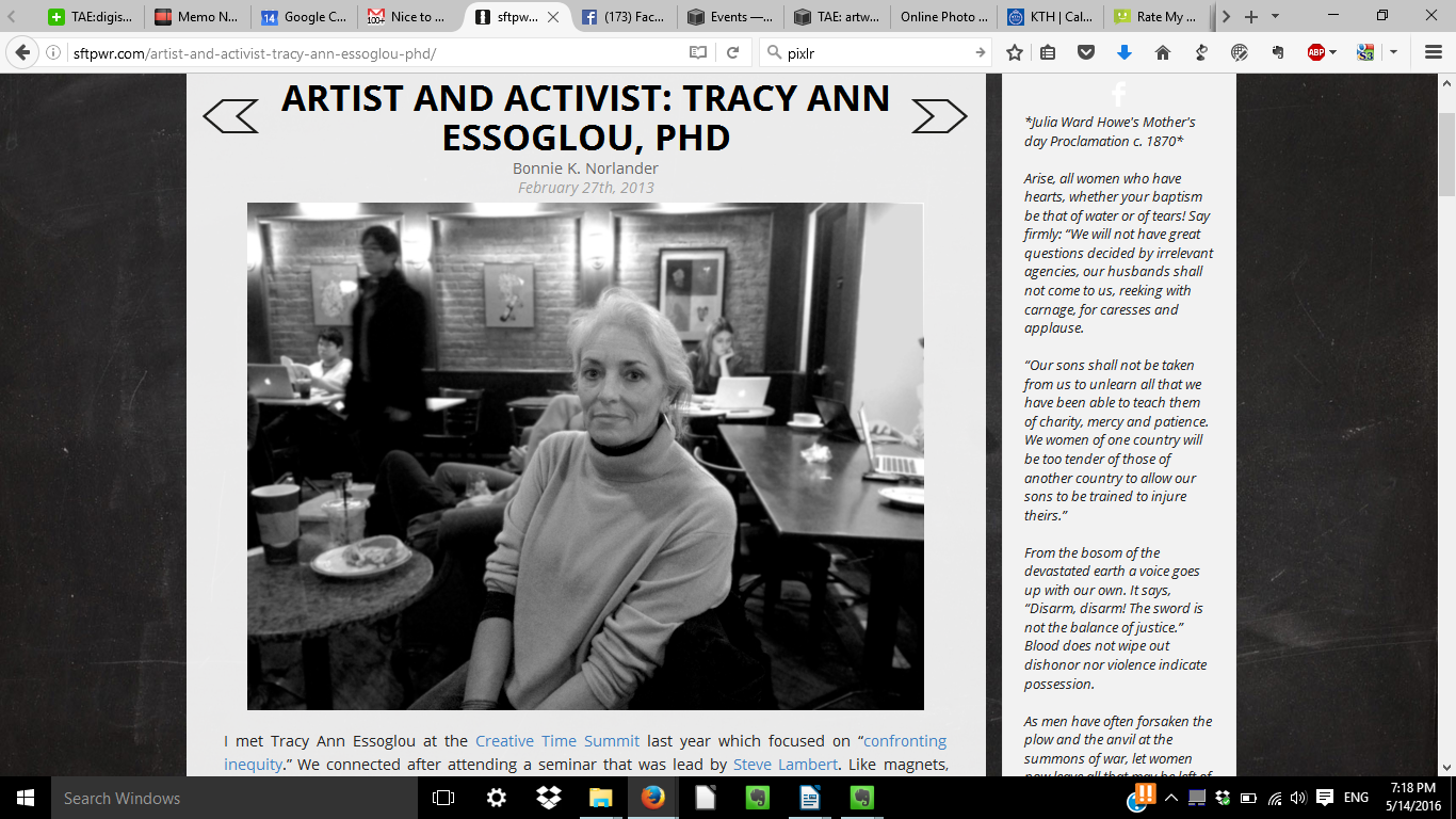 http://sftpwr.com/artist-and-activist-tracy-ann-essoglou-phd/