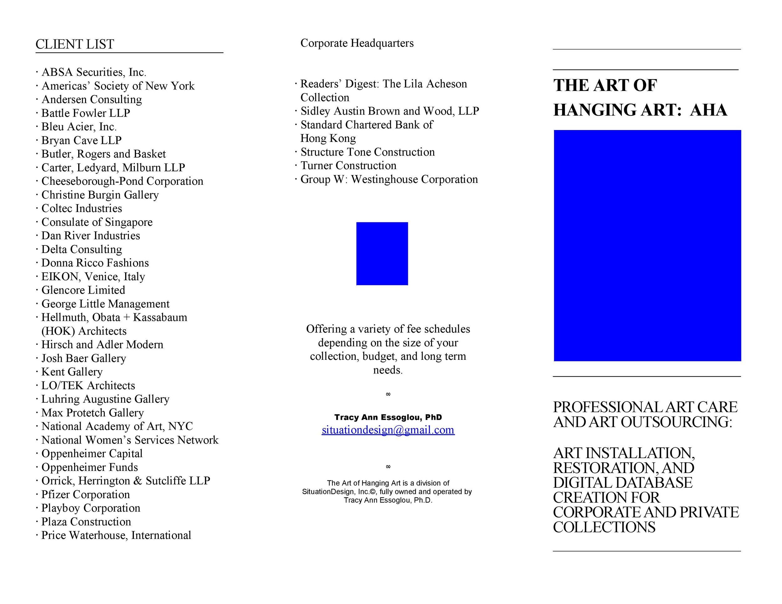 Brochure exterior: AHA: The Art of Hanging Art