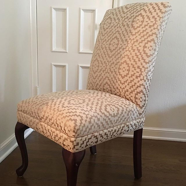 This vintage claw dining chair upholstered in my fabric.  #ind_textiles #newlook #diningchairs #detailed #customized #luxurydesign #interiordesign #menlopark #atherton #happycustomer
