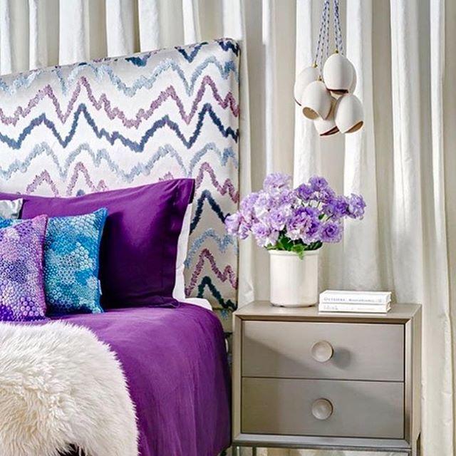 Thank-you @donghia_inc ❤️ * * * #upholsteredheadboard #textiles #elegant #lavender #purple #satinandsilk #menlopark #bayarea #interiors #homedecor #upholstery #drapery #windowtreatments