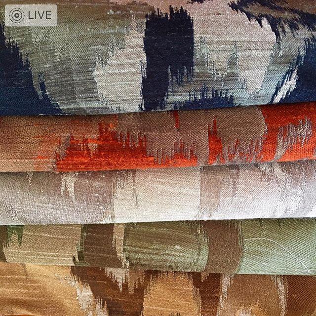 Modern grey ikat with touches of blue, orange, mustard and brown * * * #silk #hautecouture #fabric #upholsteredchair#uniquedesign #decoratorfabric #interiordesign #sanfrancisco #bayarea #menlopark #alliedarts