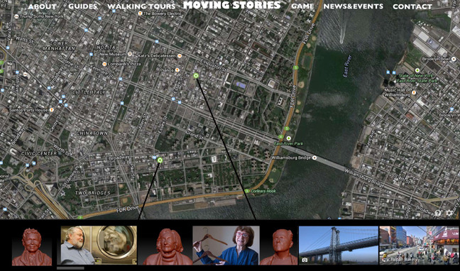 Mock up:Participants may engage with a senior led walking tour online by selecting a guide and connecting to their story on a map. Choose your own routethrough the Lower East Side based on location, storyteller or topic. Play the moving stories game and exercise your memory skills.