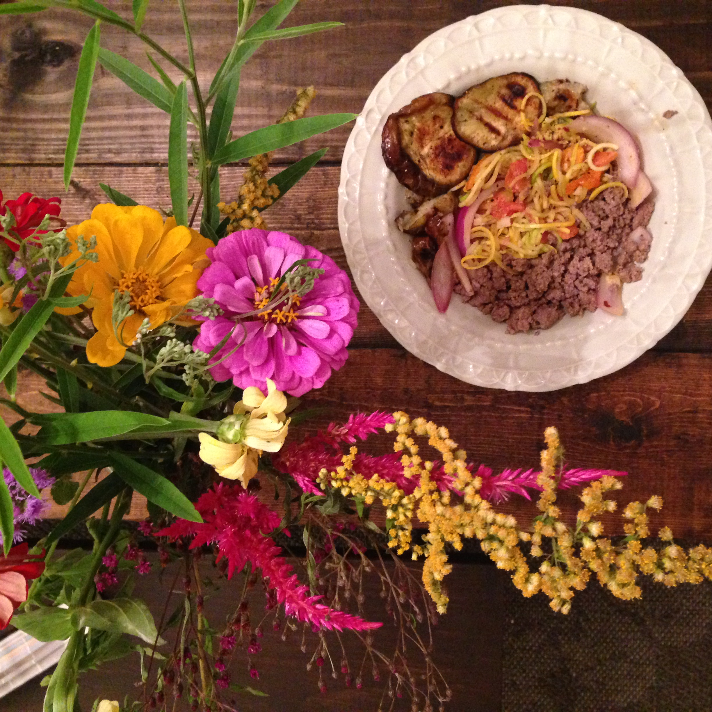 The Hepzibah Flower CSA + my poorly photographed veggie box meal.