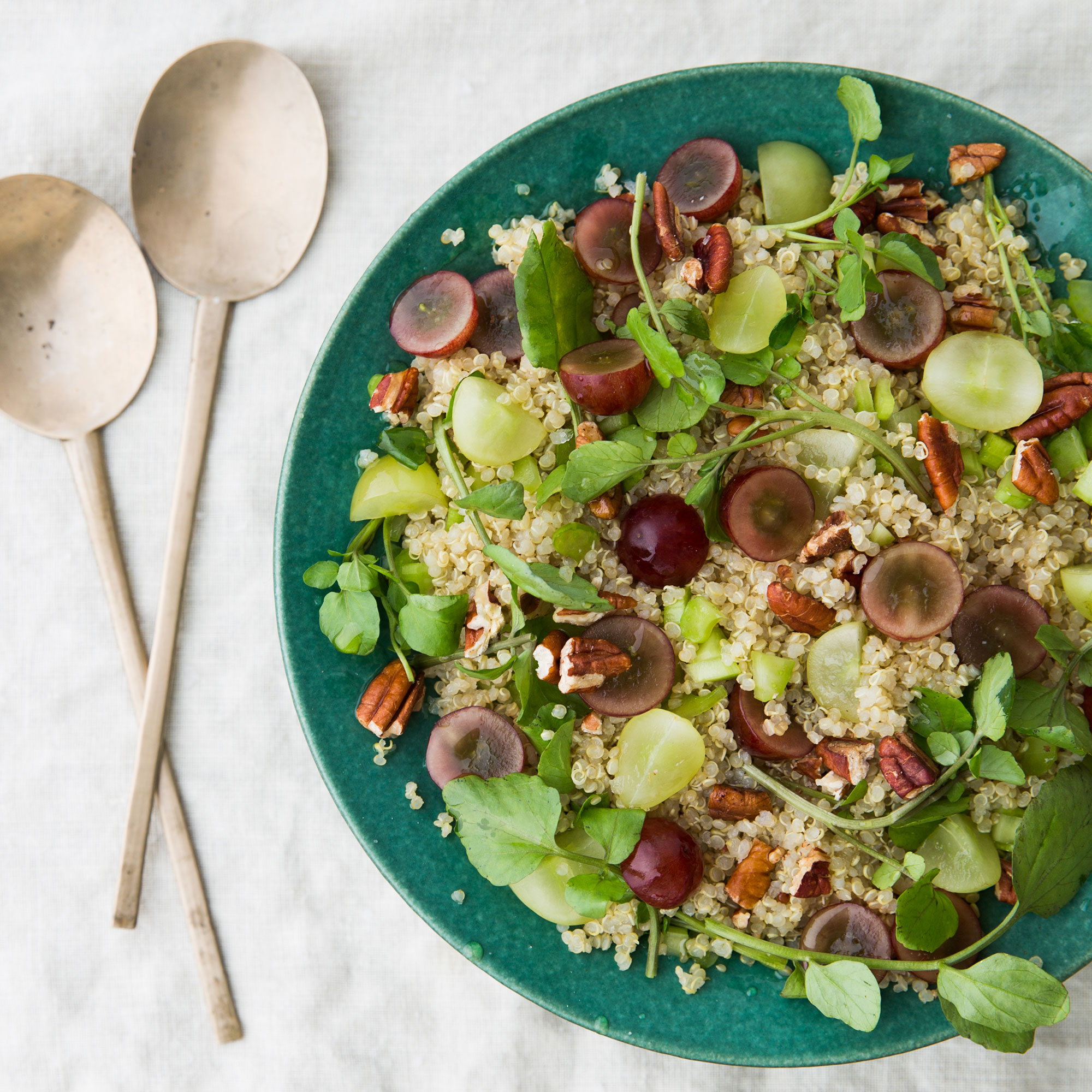 Grape, Quinoa, Pecan and Watercress Salad