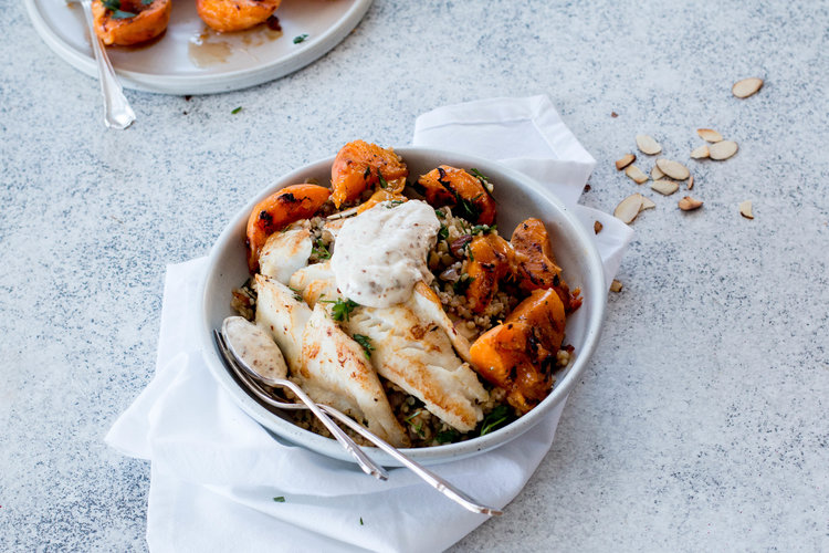 Cumin Grilled Apricots with Spiced Bulgur Pilaf & Pan-fried Fish