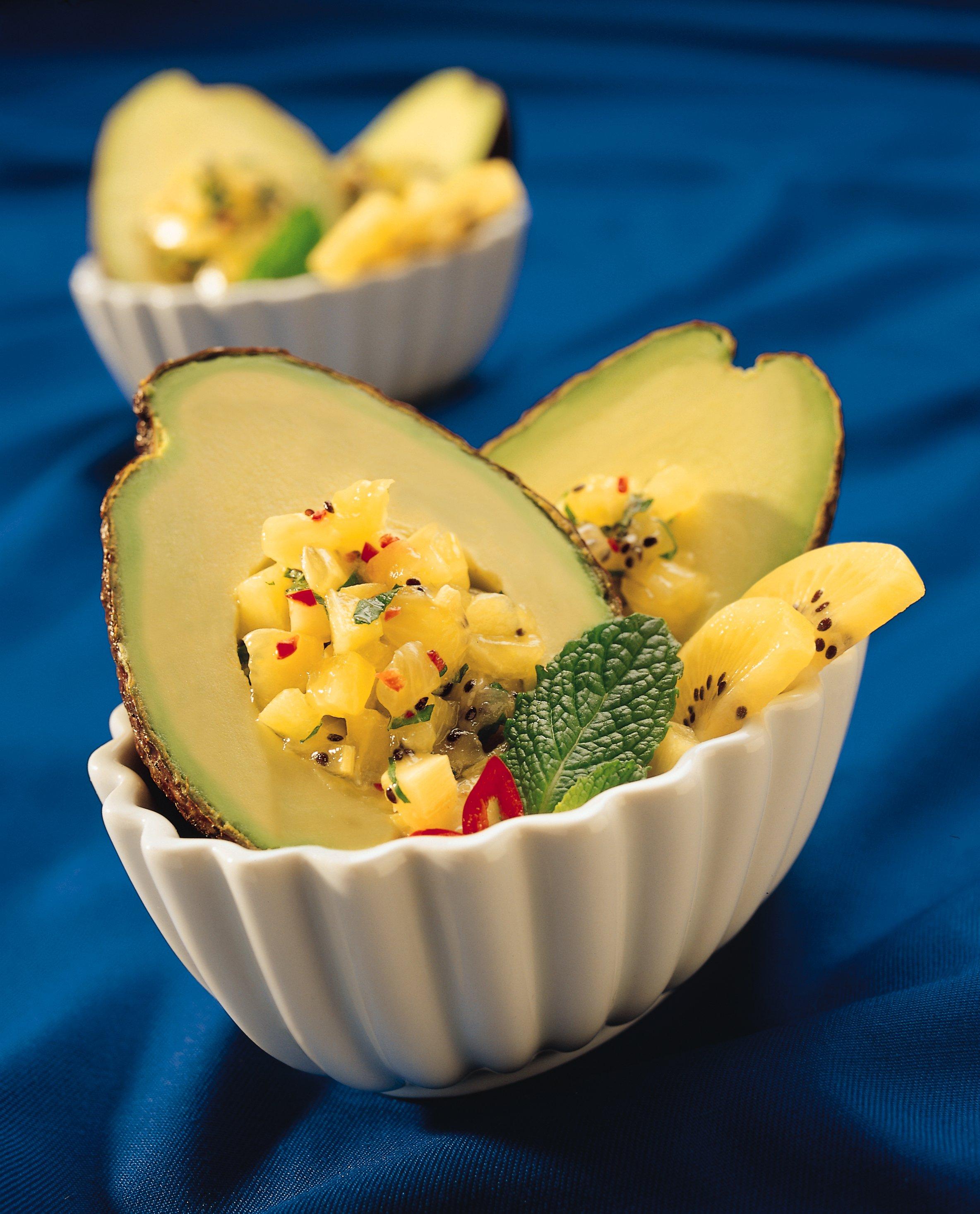 Avocado with Gold Kiwifruit Salsa